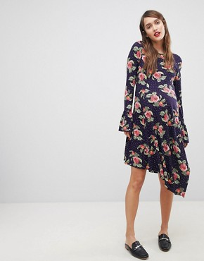 photo Mini Dress with Hanky Hem and Frill Cuff in Spot Floral Print by ASOS Maternity, color Multi - Image 1