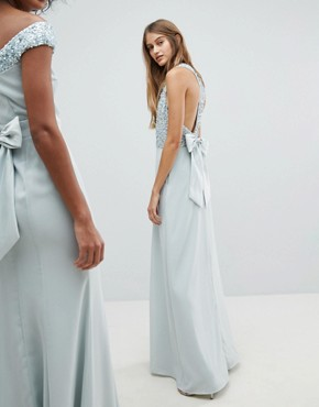 photo Sleeveless Sequin Bodice Maxi Dress with Cutout and Bow Back Detail by Maya, color Ice Blue - Image 2