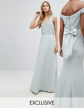 photo Sleeveless Sequin Bodice Maxi Dress with Cutout and Bow Back Detail by Maya, color Ice Blue - Image 1