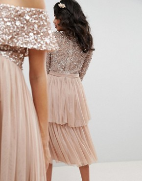 photo Long Sleeve Sequin Top Midi Dress with Tiered Tulle Skirt by Maya, color Taupe Blush - Image 2