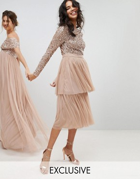 photo Long Sleeve Sequin Top Midi Dress with Tiered Tulle Skirt by Maya, color Taupe Blush - Image 1