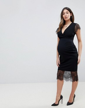 photo Pencil Dress with V-Neck and Lace Sleeves and Hem by ASOS Maternity, color Black - Image 1