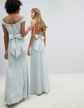 photo Bardot Sequin Detail Maxi Dress with Bow Back Detail by Maya, color Ice Blue - Image 2
