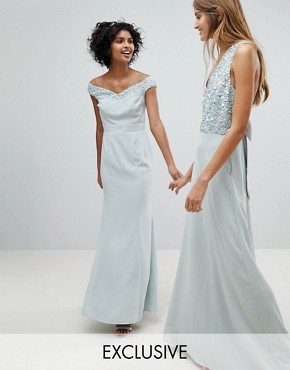 photo Bardot Sequin Detail Maxi Dress with Bow Back Detail by Maya, color Ice Blue - Image 1