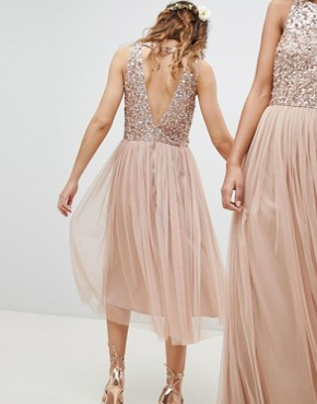photo Sleeveless Sequin Bodice Tulle Detail Midi Bridesmaid Dress with Cutout Back by Maya, color Taupe Blush - Image 2