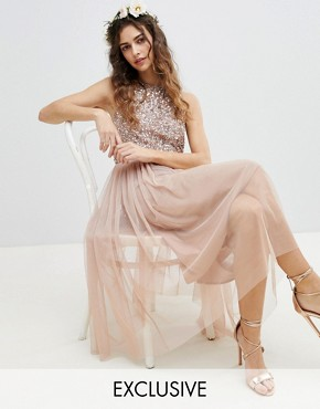 photo Sleeveless Sequin Bodice Tulle Detail Midi Bridesmaid Dress with Cutout Back by Maya, color Taupe Blush - Image 1