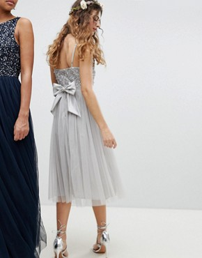 photo Cami Strap Sequin Top Tulle Detail Midi Bridesmaid Dress by Maya, color Micro Chip - Image 2