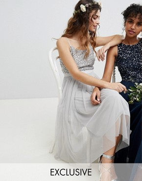 photo Cami Strap Sequin Top Tulle Detail Midi Bridesmaid Dress by Maya, color Micro Chip - Image 1
