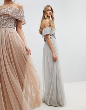 photo Bardot Sequin Top Tulle Detail Dress with High Low Hem by Maya, color Micro Chip - Image 2