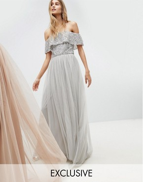 photo Bardot Sequin Top Tulle Detail Dress with High Low Hem by Maya, color Micro Chip - Image 1