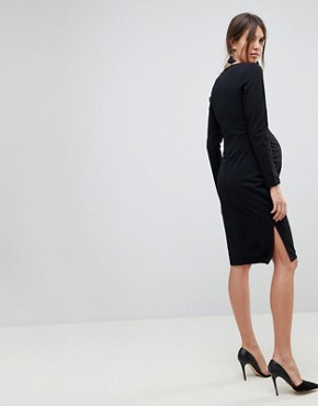 photo Midi V-Neck Pencil Dress with Long Sleeves by ASOS Maternity, color Black - Image 2