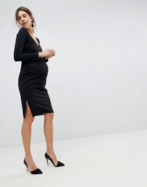 photo Midi V-Neck Pencil Dress with Long Sleeves by ASOS Maternity, color Black - Image 4