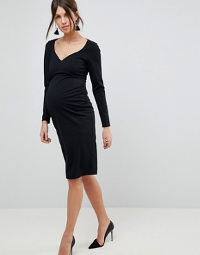 photo Midi V-Neck Pencil Dress with Long Sleeves by ASOS Maternity, color Black - Image 1
