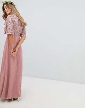 photo Sequin Top Maxi Bridesmaid Dress with Flutter Sleeve Detail by Maya, color Vintage Rose - Image 2
