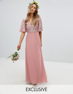 photo Sequin Top Maxi Bridesmaid Dress with Flutter Sleeve Detail by Maya, color Vintage Rose - Image 1