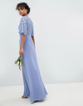 photo Sequin Top Maxi Bridesmaid Dress with Flutter Sleeve Detail by Maya, color Bluebell - Image 2