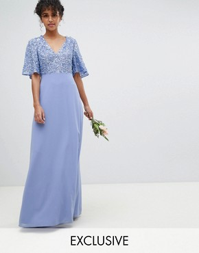photo Sequin Top Maxi Bridesmaid Dress with Flutter Sleeve Detail by Maya, color Bluebell - Image 1