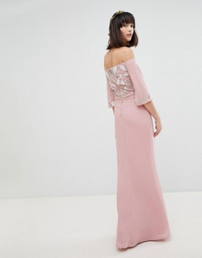 photo All Over Embellished Bardot Maxi Bridesmaid Dress with Fluted Sleeves by Maya, color Vintage Rose - Image 2