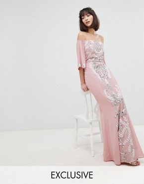 photo All Over Embellished Bardot Maxi Bridesmaid Dress with Fluted Sleeves by Maya, color Vintage Rose - Image 1