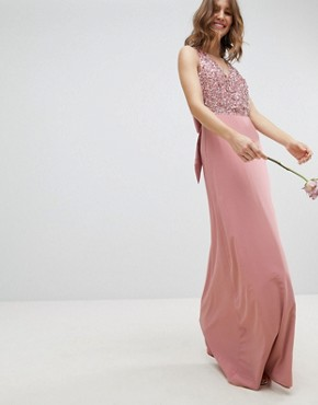 photo Sleeveless Sequin Bodice Maxi Dress with Cutout and Bow Back Detail by Maya, color Vintage Rose - Image 2