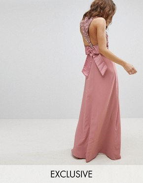 photo Sleeveless Sequin Bodice Maxi Dress with Cutout and Bow Back Detail by Maya, color Vintage Rose - Image 1