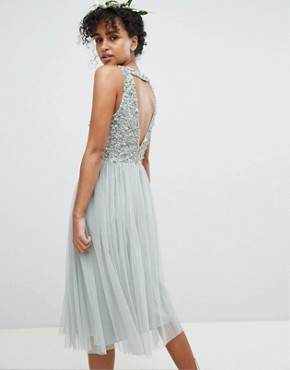 photo Sleeveless Sequin Bodice Tulle Detail Midi Bridesmaid Dress with Cutout Back by Maya, color Green Lily - Image 2