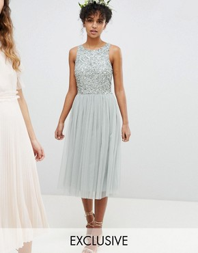 photo Sleeveless Sequin Bodice Tulle Detail Midi Bridesmaid Dress with Cutout Back by Maya, color Green Lily - Image 1