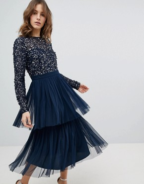 photo Long Sleeve Sequin Top Midi Dress with Tiered Tulle Skirt by Maya, color Navy - Image 2
