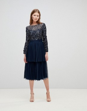 photo Long Sleeve Sequin Top Midi Dress with Tiered Tulle Skirt by Maya, color Navy - Image 1