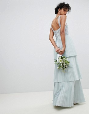 photo Floral Sequin Top Maxi Bridesmaid Dress with Tiered Ruffle Pleated Skirt by Maya, color Ice Blue - Image 2