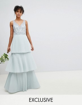 photo Floral Sequin Top Maxi Bridesmaid Dress with Tiered Ruffle Pleated Skirt by Maya, color Ice Blue - Image 1