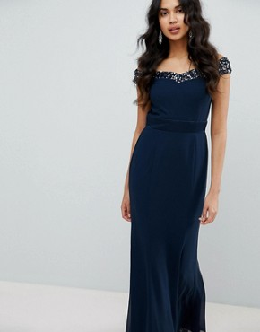 photo Bardot Sequin Detail Maxi Dress with Bow Back Detail by Maya, color Navy - Image 2