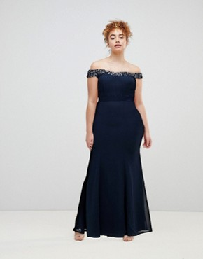 photo Bardot Sequin Detail Maxi Dress with Bow Back Detail by Maya, color Navy - Image 1