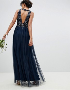 photo Sleeveless Sequin Bodice Tulle Detail Maxi Bridesmaid Dress with Cutout Back by Maya, color Navy - Image 2