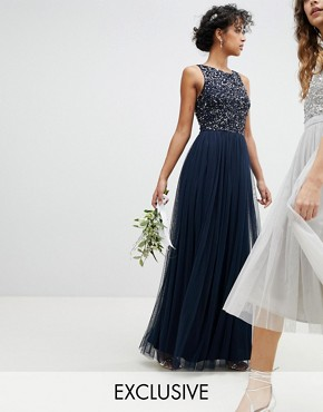 photo Sleeveless Sequin Bodice Tulle Detail Maxi Bridesmaid Dress with Cutout Back by Maya, color Navy - Image 1