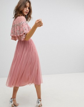 photo Sheer Detail Sequin Cape Overlay Detail Midi Dress by Maya, color Vintage Rose - Image 2
