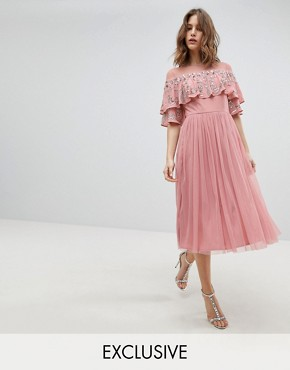 photo Sheer Detail Sequin Cape Overlay Detail Midi Dress by Maya, color Vintage Rose - Image 1