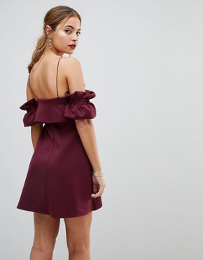 photo Crop Top Ruffle Sleeve Mini Dress by ASOS PETITE, color Aubergine - Image 2