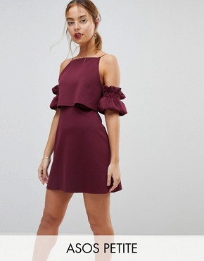 photo Crop Top Ruffle Sleeve Mini Dress by ASOS PETITE, color Aubergine - Image 1
