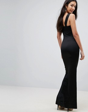 photo Square Neck Scuba Maxi Dress with Thigh Split by ASOS TALL, color Black - Image 2