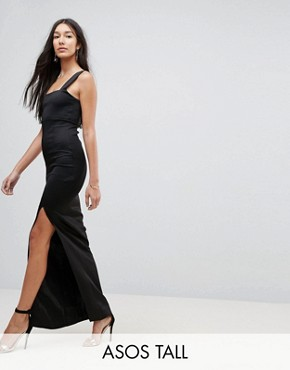 photo Square Neck Scuba Maxi Dress with Thigh Split by ASOS TALL, color Black - Image 1