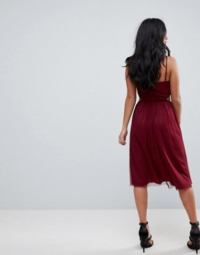 photo Dobby High Neck Midi Dress with Cut Out Sides by ASOS PETITE, color Oxblood - Image 2