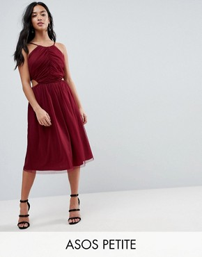 photo Dobby High Neck Midi Dress with Cut Out Sides by ASOS PETITE, color Oxblood - Image 1