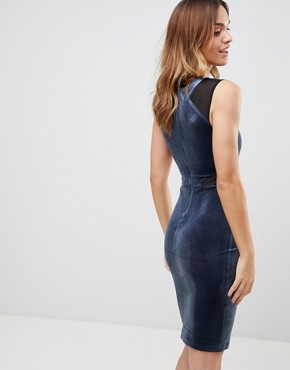 photo Viven Velvet Panel Bodycon Dress by French Connection, color Nocturnal - Image 2