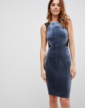 photo Viven Velvet Panel Bodycon Dress by French Connection, color Nocturnal - Image 1