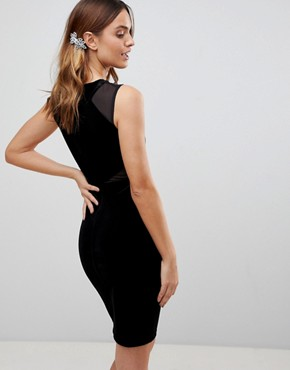 photo Viven Velvet Panel Bodycon Dress by French Connection, color Black - Image 2