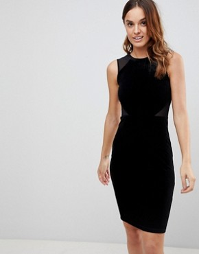 photo Viven Velvet Panel Bodycon Dress by French Connection, color Black - Image 1