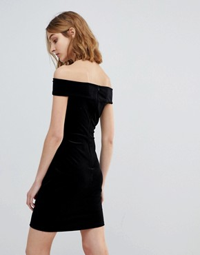 photo Lula Stretch Velvet Off Shoulder Dress by French Connection, color Black - Image 2