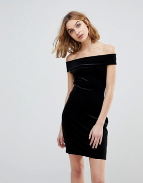 photo Lula Stretch Velvet Off Shoulder Dress by French Connection, color Black - Image 1