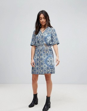 photo Printed Dress with Belt by Vero Moda, color Multi - Image 4